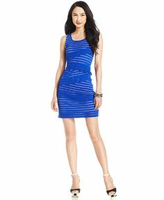 Spense Petite Sleeveless Laser-Cut Bandage Dress