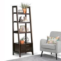 Sawhorse Ladder Shelf in Dark Chestnut Brown - Simpli Home love ladder shelves! They are ultimately practical and functional as well as a beauty to behold. Our Sawhorse collection has two different types of ladder shelves - one with bottom Wood Ladder Shelf, 4 Shelf Bookcase, Bookcases, Black Furniture, Furniture Design, House Furniture, Standing Shelves, Thing 1, Brown Wood