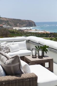 Outside living space with a view of the ocean. For our home. Outdoor Rooms, Outdoor Living, Outdoor Furniture Sets, Outdoor Beach Decor, Beach Patio, Coastal Homes, Coastal Living, Beach Homes, Home Design