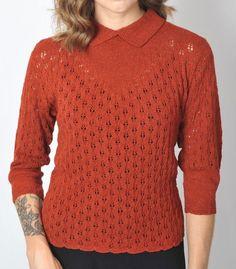 Rust Red Fairisle Cardigan Ww2 Vintage Style Thin Knit Crew Neck Size 10