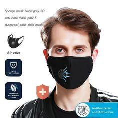 Anti Haze Mouth Masks Valve Washable Replaceable Filter Face Protection Mask DT