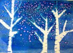Lavoretti con acquerelli per bambini - Alberi su sfondo blu