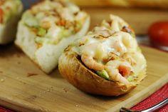 Spicy Guacamole Shrimp Melts ... an easy & hearty option for sandwich night!  www.thekitchenismyplayground.com  #sandwich #guacamole #shrimp