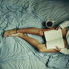 Bed, coffee, book.