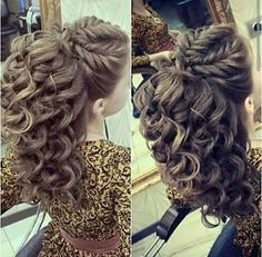 Curly Hair Style Bride Hairstyles, Arabic Hairstyles, Fast Hairstyles, Formal Hairstyles, Pretty Hairstyles, Bridesmaid Hair, Prom Hair, Hair Inspo, Hair Inspiration