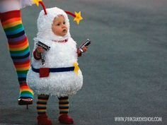 This is the cutest Halloween costume idea I have seen in a while!! The baby is Twink and her mom is Rainbow Bright!! EEK!