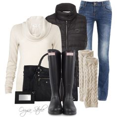 My fav.....sweater, puffy vest, jeans and boots! Could wear every day! Lol oh, gotta have the purse too!