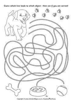 Puppy Match Up - Simple kid's maze (writing skills, fine motor, visual activity, hand-eye coordination) Activity Sheets For Kids, Mazes For Kids, Worksheets For Kids, Dyslexia Activities, Motor Activities, Activities For Kids, Preschool Writing, Preschool Themes, Motor Planning