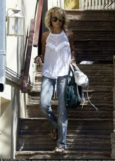 love this top, jeans, hair, her style always...