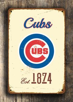 Stairs...Vintage style CHICAGO CUBS Sign Chicago Cubs Est. by FanZoneSigns