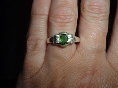 Sale Russian Chrome Diopside and White Sapphire Ring by missy69