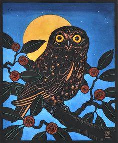 Boobook Owl and Australian Cheesewood Tree by Leslie van der Sluys (1939-2010)