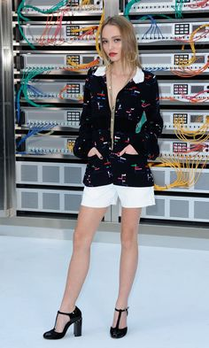 Johnny Depp's daughter Lily-Rose exuded glamour at Chanel's technology-themed fashion show.