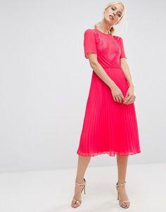 ASOS | ASOS Lace and Pleat Skater Midi Dress