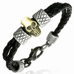 PVC Double Black Braided Leather and Copper Bracelet Criss Cross Skull Tube Ring | eBay Check out our ebay store with all of our great jewelry items!!!