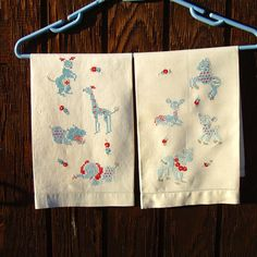 Vintage Hand Embroidered Animals Guest Towels Fine Linen Nursery Decor Elephant Giraffe Horse Kangaroo Hippo Deer Lamb Cow on Etsy, $38.00