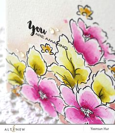 You are amazing with Hibiscus Bouquet stamp set Hibiscus Bouquet, Mask Images, Altenew Cards, Love Stamps, You Are Amazing, Distress Ink, Flower Cards, Watercolor Paper, Beautiful Flowers