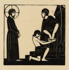 """Jesus is Condemned to Death"" by Eric Gill (1917).  Tate Collection.  Relief print on paper."