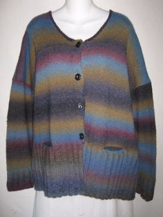 FLAX Jeanne Engelhart Cardigan Button Front Sweater Merino Wool Blend Medium L #FLAX #Cardigan