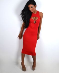 Sarah Red Open Back Keyhole Midi Dress