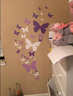 Butterfly Wall Stickers in Purple, Lilac & White vinyl decal for kids room walls- Design a beautiful butterfly bedroom with easy stick wall decal. Large and small butterfly girls room decals to instantly decorate any wall. Childrens Wall Murals, Kids Room Murals, Kids Wall Decals, Wall Vinyl, Kids Stickers, Kids Rooms, Wall Art, Gold Bedroom Decor, Girls Room Wall Decor
