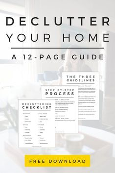 Is #clutter taking over your life? You need this free 12-page decluttering workbook to guide you through the process and get your entire home organized in five easy steps! Click to get your copy. #tipstodeclutteryourhome