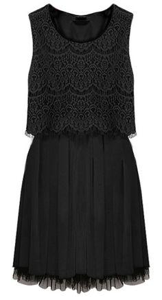 Black Sleeveless Crochet Lace Gauze Hem Dress - Sheinside.com