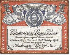 Budweiser Historic Label 16 x 12 Nostalgic Metal Sign | Man Cave Kingdom
