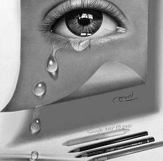 Realistic Pencil Drawings, Dark Art Drawings, Amazing Drawings, Pencil Art Drawings, Cool Drawings, Art Sketches, Tears Art, Eyes Artwork, Sad Art