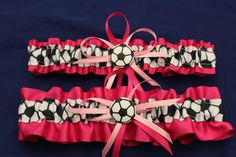 Fuchsia Soccer Theme Wedding Garter Set Bridal by StarBridal