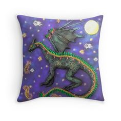 $27.50 #dragon #dragonpillow #dragonpillowcase #dragonthrowpillow #dragondecor #dragonhomedecor The Dream Dragon The Dream Dragon comes out when the stars are bright. It flies across the night sky, breathing fire over us while we sleep, endowing us with the passion, energy and determination to follow our dreams. This lovely Throw Pillow Cover printed with my original photograph features my original dragon art design The Dream Dragon. This pillowcase is a great and practical home decor accessory to add some magic to your living room!