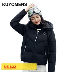 KUYOMENS Short Winter Coat For Women 2017 New Slim Parkas Outerwear With A Hooded Cotton-Padded Jackets