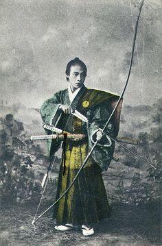 Samurai holding a yumi (bow).