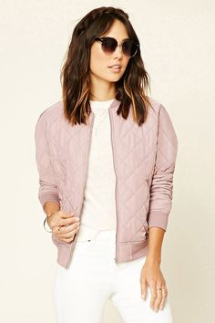 Forever 21 Contemporary - A woven bomber jacket featuring a quilted design, zippered front, long sleeves, ribbed trim, and two front slanted zippered pockets.