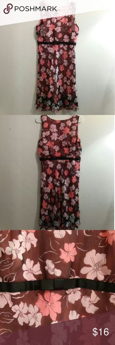 """SZ.L POMPONIX Sleeveless Midi Dress Very chic floral dress with a matte black ribbon """"belt"""" under bust. Floral print is cream & coral flowers on chocolate brown.  Double-layer flounce hem and 10"""" under-arm zipper. Back of neck to hem is 39.5"""".  NOTE: There is a tiny pinhole in the lining to the upper left of the tag.  I can TOTALLY see this with a floppy summer hat in black or cream with some cute kitten heels :)  Bundle up & save on shipping! Dresses Midi"""