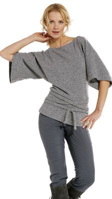 BURDA 7866 A trendy pullover casual and relaxed. It boasts a boat neckline and kimono sleeves and is finished off with a fitted hip yoke. SewingPatterns.com