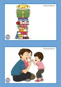 15 Lezen en oudermorgen. 32 dagritmekaarten voor kleuters, juf Petra kleuteridee / Preschool schedule cards