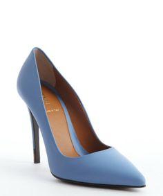 Fendi powder blue leather pointed toe pumps
