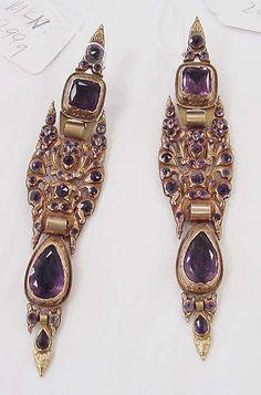 Clip earrings Date: mid-19th century Culture: Spanish Medium: gold, metal, amethyst Metropolitan Museum of Art