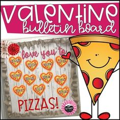 "Don't know about you, but pizza is my valentine! This snazzy little file includes 3 bulletin board options! File Includes: board example pictures whole pizza craft templates plus writing page pizza slice craft templates plus writing page heart ""pepperonis"""