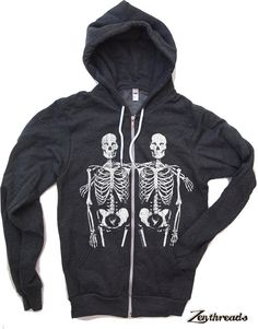 Unisex SKELETONS Flex Fleece Hoody in Dark Heather by ZenThreads, $46.00