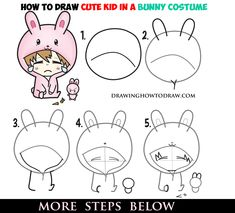 Learn How to Draw a Cute Chibi Character in Bunny Rabbit Onesie Pajamas Costume Simple Step by Step Drawing Tutorial for Beginners Funny Drawings, 3d Drawings, Kawaii Drawings, Cartoon Drawings, Drawing Lessons For Kids, Drawing For Beginners, How To Draw Steps, Learn To Draw, Realistic Eye Drawing