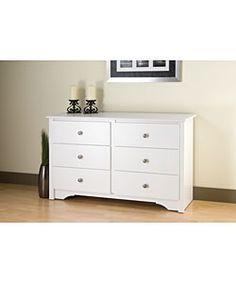 Winslow White Condo Sized 6-drawer Dresser