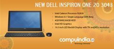 A complete PC set-up that offers versatility with a beautiful All in One design and reliable performance. www.compuindia.com/dell-desktops/inspiron-one-20-3000-4gb-desktop-7203.html