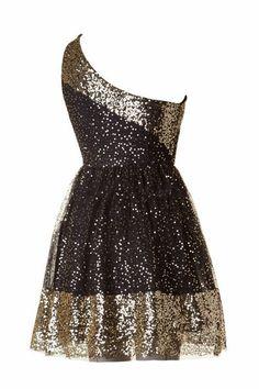 Love Affair One Shoulder Sequin Skater Dress - Black + Gold