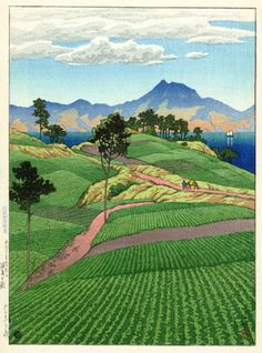 "Hasui Kawase (川瀬 巴水 Kawase Hasui, May 1883 – November was a Japanese artist. He was one of the most prominent print designers of the shin-hanga (""new prints"") movement. Japanese Landscape, Landscape Art, Landscape Paintings, Japan Illustration, Botanical Illustration, Japanese Woodcut, Art Asiatique, Japanese Painting, Chinese Painting"