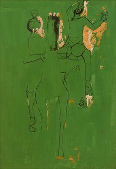 Marino Marini (Italian, 1901-1980), CAVALLO E GIOCOLIERI [HORSE AND JUGGLERS], 1953. Gouache, pen and ink on paper.
