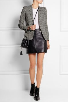 Work Wear - Black and white wool-tweed Button fastenings through front wool; Cute Teen Outfits, Outfits For Teens, Blazer En Tweed, Saint Laurent, Interview Attire, Street Style 2018, Black Leather Skirts, Blazer Outfits, Leather Fashion