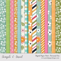 Free Digital Paper Pack – Simple & Sweet