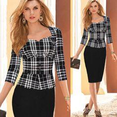 Para Women's Vintage/Bodycon/Tartan Round ½ Length Sleeve Dresses (Cotton Blend)